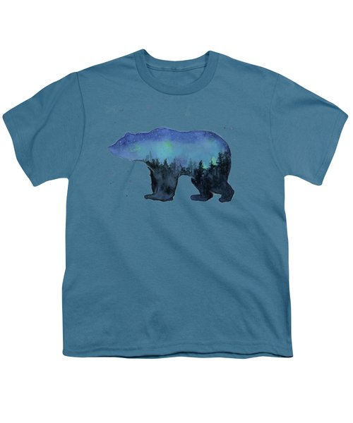 Forest Bear Watercolor Galaxy Youth T-Shirt
