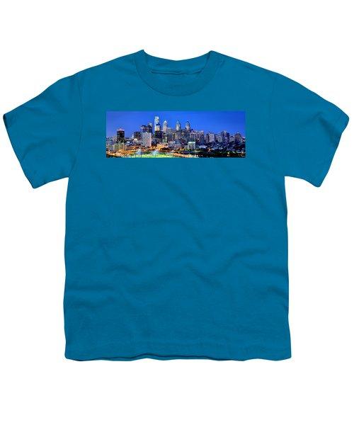 Philadelphia Skyline At Night Evening Panorama Youth T-Shirt by Jon Holiday