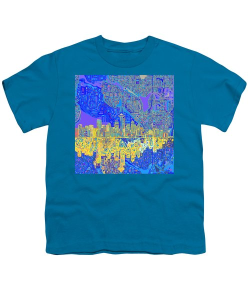Seattle Skyline Abstract 6 Youth T-Shirt