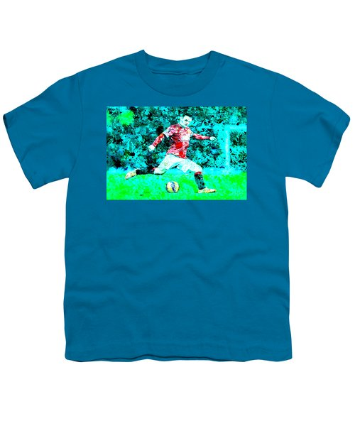 Wayne Rooney Splats Youth T-Shirt by Brian Reaves