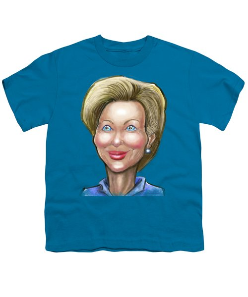 Hillary Clinton Caricature Youth T-Shirt by Kevin Middleton
