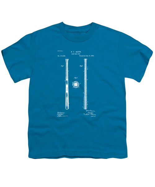 1885 Baseball Bat Patent Artwork - Blueprint Youth T-Shirt by Nikki Marie Smith