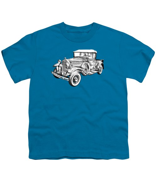 1930 Ford Model A Pickup Truck Illustration Youth T-Shirt