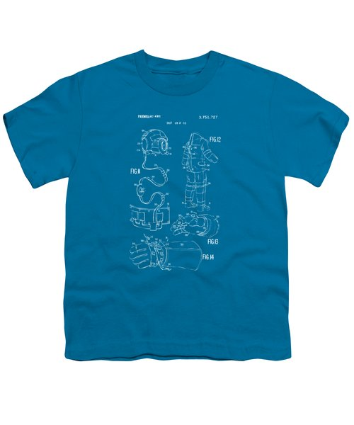 1973 Space Suit Elements Patent Artwork - Blueprint Youth T-Shirt by Nikki Marie Smith