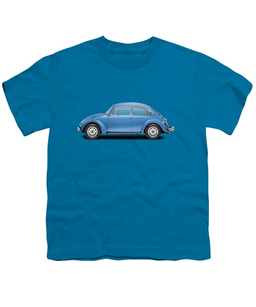 1975 Volkswagen Super Beetle - Ancona Blue Metallic Youth T-Shirt by Ed Jackson