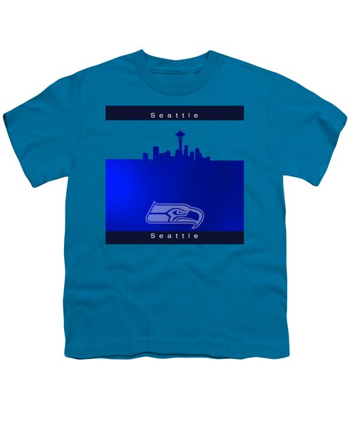 Seattle Seahawks Skyline Youth T-Shirt by Alberto RuiZ