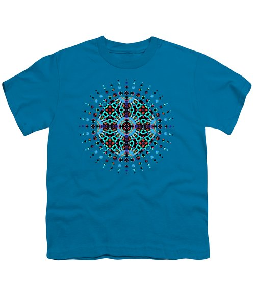 Aqua Geometric Mandala Youth T-Shirt