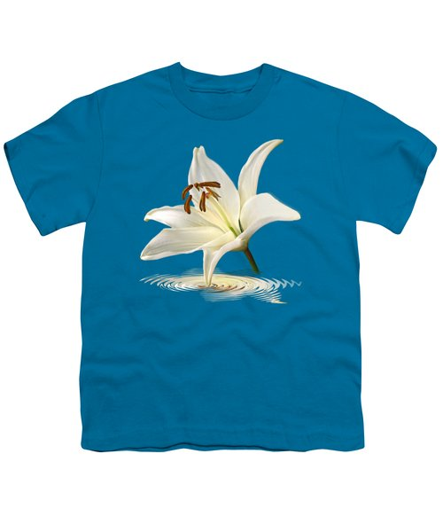 Blue Horizons - White Lily Youth T-Shirt by Gill Billington