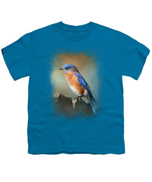 Bluebird On The Fence Youth T-Shirt by Jai Johnson