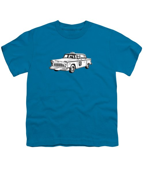 Checkered Taxi Cab Illustrastion Youth T-Shirt by Keith Webber Jr