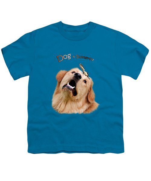 Dog And Butterfly Youth T-Shirt