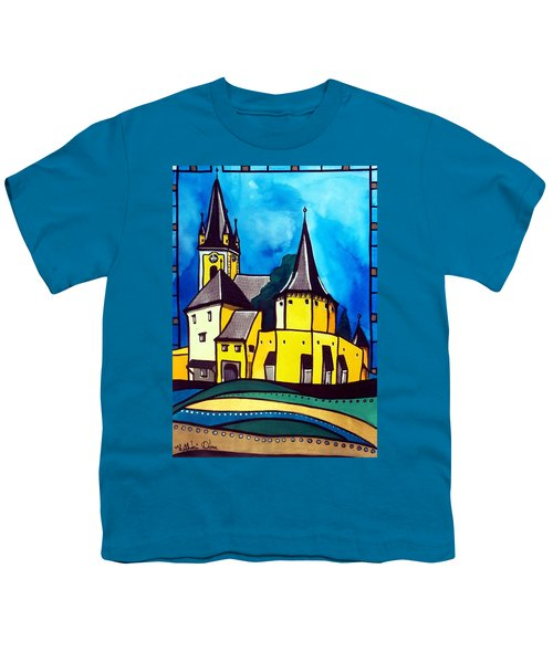 Youth T-Shirt featuring the painting Fortified Medieval Church In Transylvania By Dora Hathazi Mendes by Dora Hathazi Mendes