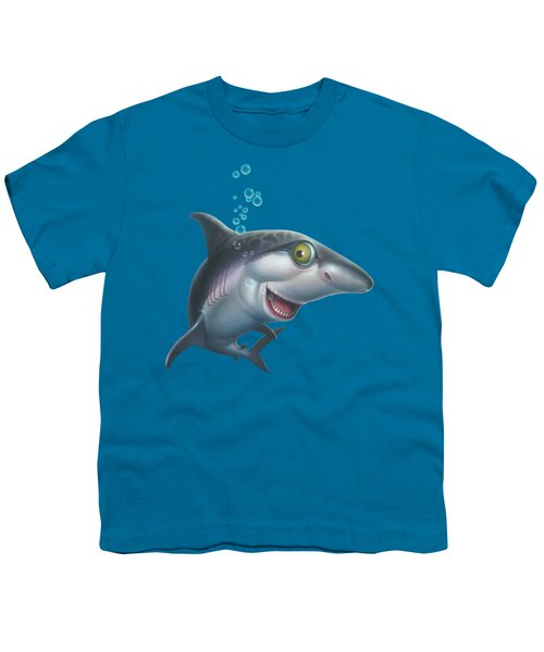 friendly Shark Cartoony cartoon under sea ocean underwater scene art print blue grey  Youth T-Shirt by Walt Curlee