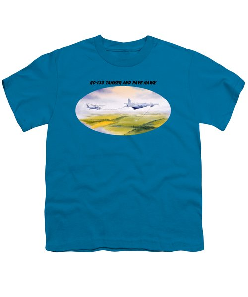 Kc-130 Tanker Aircraft And Pave Hawk With Banner Youth T-Shirt by Bill Holkham