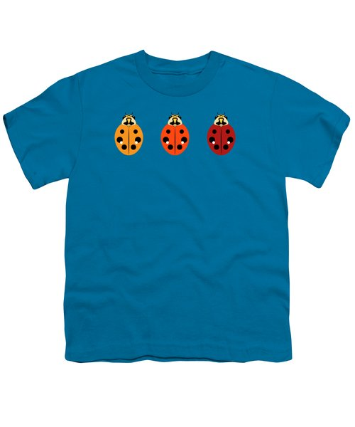 Ladybug Trio Horizontal Youth T-Shirt by MM Anderson