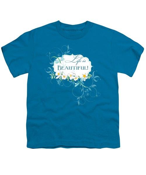Life Is Beautiful - Dragonflies N Daisies W Leaf Swirls N Dots Youth T-Shirt