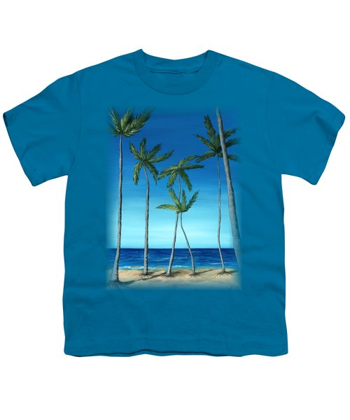 Youth T-Shirt featuring the painting Palm Trees On Blue by Anastasiya Malakhova