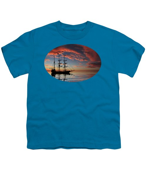 Pirate Ship At Sunset Youth T-Shirt