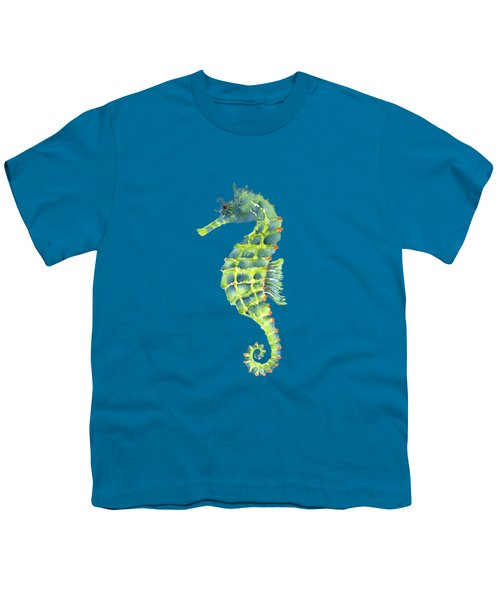 Teal Green Seahorse - Square Youth T-Shirt by Amy Kirkpatrick