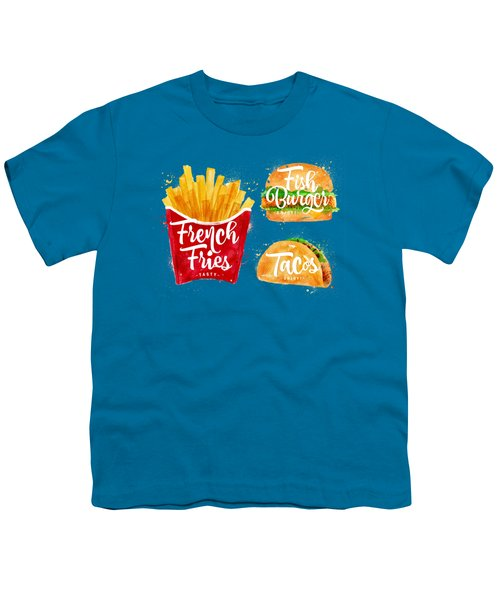 White French Fries Youth T-Shirt by Aloke Creative Store