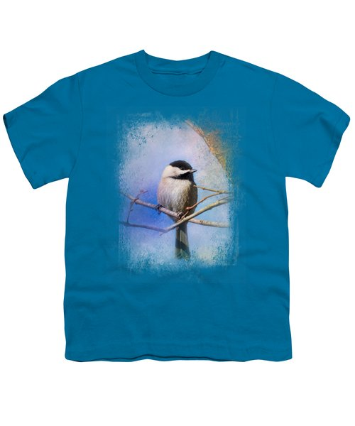 Winter Morning Chickadee Youth T-Shirt by Jai Johnson