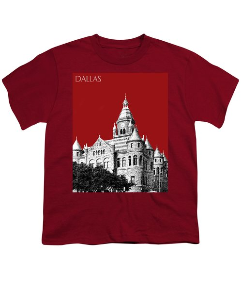 Dallas Skyline Old Red Courthouse - Dark Red Youth T-Shirt