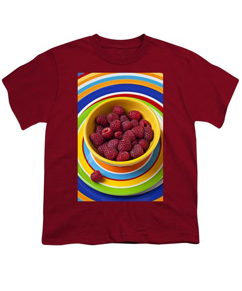 Raspberries In Yellow Bowl On Plate Youth T-Shirt