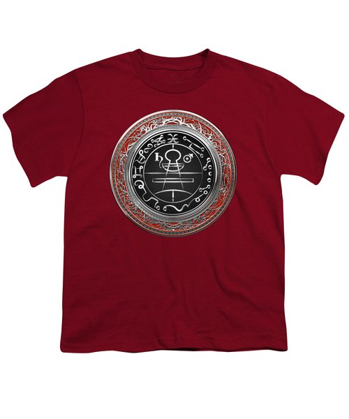 Silver Seal Of Solomon - Lesser Key Of Solomon On Red Velvet  Youth T-Shirt