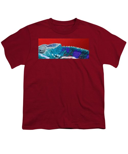Turquoise Chameleon On Red Youth T-Shirt by Serge Averbukh