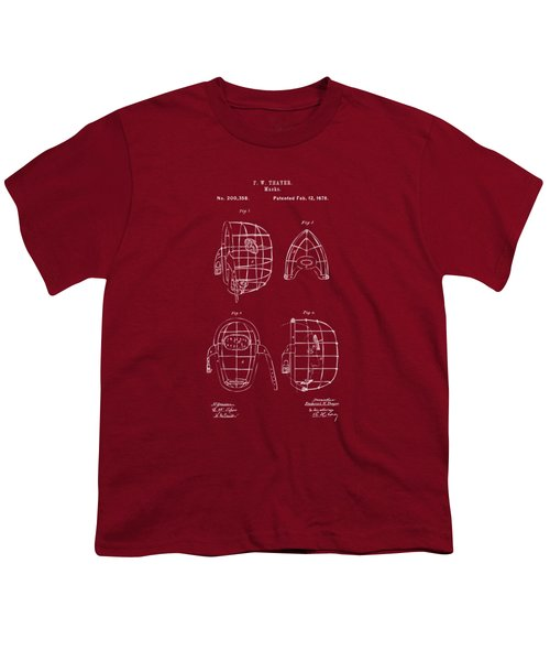 1878 Baseball Catchers Mask Patent - Red Youth T-Shirt by Nikki Marie Smith