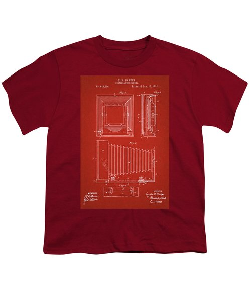 1891 Camera Us Patent Invention Drawing - Red Youth T-Shirt