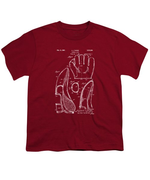 1941 Baseball Glove Patent - Red Youth T-Shirt by Nikki Marie Smith