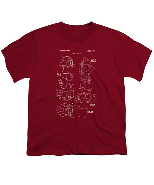 1973 Space Suit Elements Patent Artwork - Red Youth T-Shirt