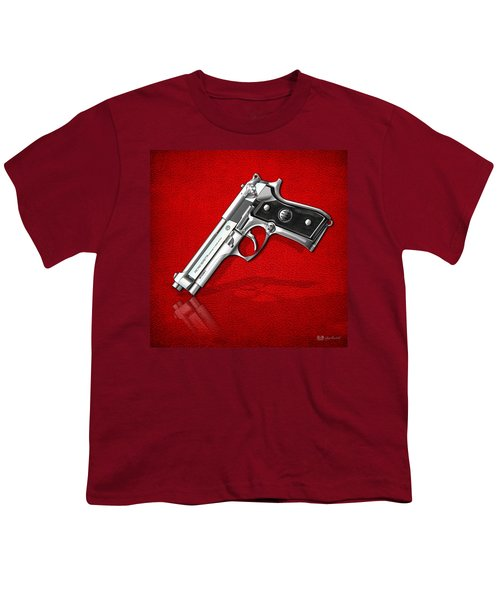 Beretta 92fs Inox Over Red Leather  Youth T-Shirt by Serge Averbukh