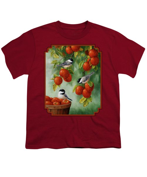 Bird Painting - Apple Harvest Chickadees Youth T-Shirt by Crista Forest