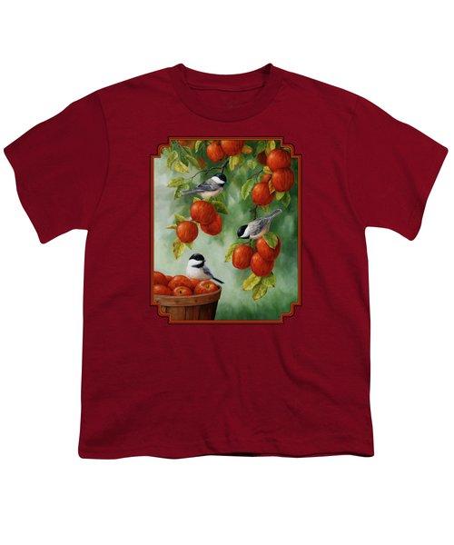 Bird Painting - Apple Harvest Chickadees Youth T-Shirt