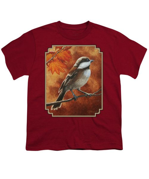 Autumn Chickadee Youth T-Shirt by Crista Forest