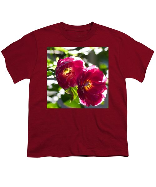 Backlit Roses In My Garden Youth T-Shirt by Anna Porter