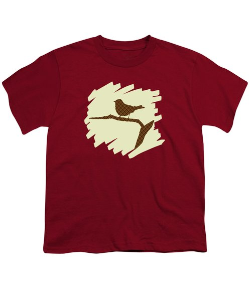 Youth T-Shirt featuring the mixed media Brown Bird Silhouette Modern Bird Art by Christina Rollo