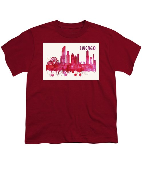 Chicago Skyline Watercolor Poster - Cityscape Painting Artwork Youth T-Shirt