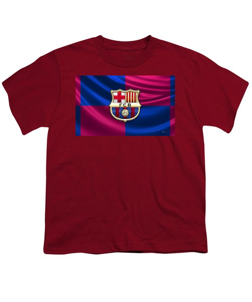 F. C. Barcelona - 3d Badge Over Flag Youth T-Shirt by Serge Averbukh