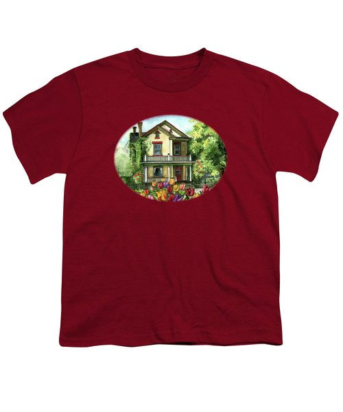 Farmhouse With Spring Tulips Youth T-Shirt