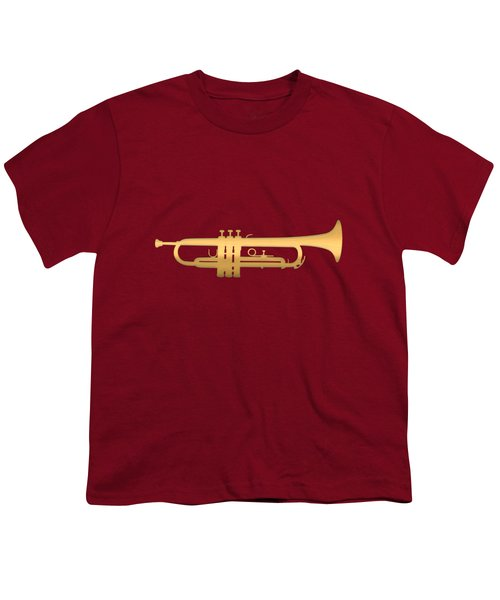 Gold Embossed Trumpet On Dark Red Background Youth T-Shirt