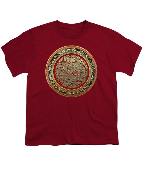 Golden Chinese Dragon On Red Velvet Youth T-Shirt by Serge Averbukh