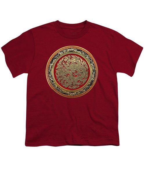 Golden Chinese Dragon On Red Velvet Youth T-Shirt
