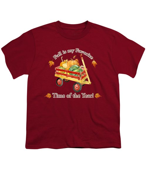 Harvest Red Wagon Pumpkins N Leaves Youth T-Shirt by Audrey Jeanne Roberts