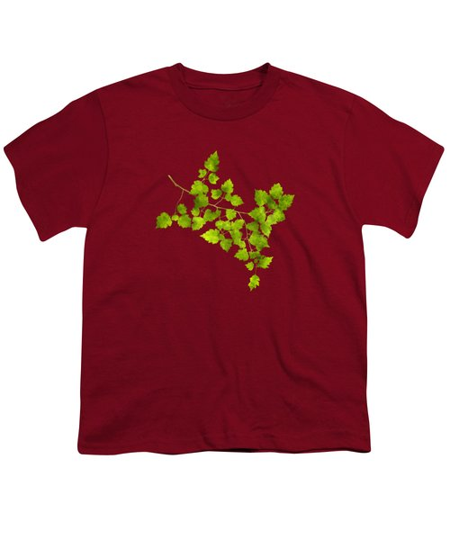 Youth T-Shirt featuring the mixed media Hawthorn Pressed Leaf Art by Christina Rollo