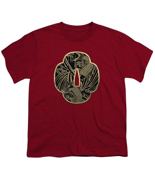 Japanese Katana Tsuba - Golden Twin Koi On Black Steel Over Red Velvet Youth T-Shirt