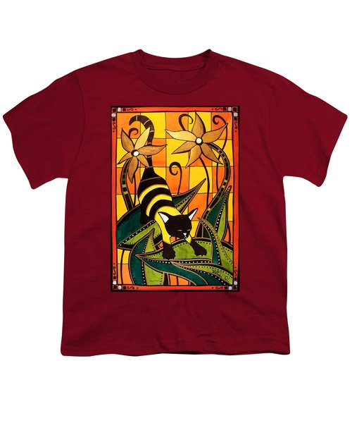Youth T-Shirt featuring the painting Kitty Bee - Cat Art By Dora Hathazi Mendes by Dora Hathazi Mendes
