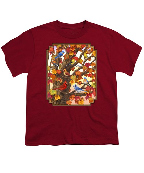 Maple Tree Marvel - Bird Painting Youth T-Shirt by Crista Forest